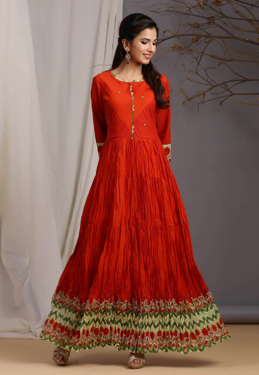 Red Cotton Readymade Gown 212972