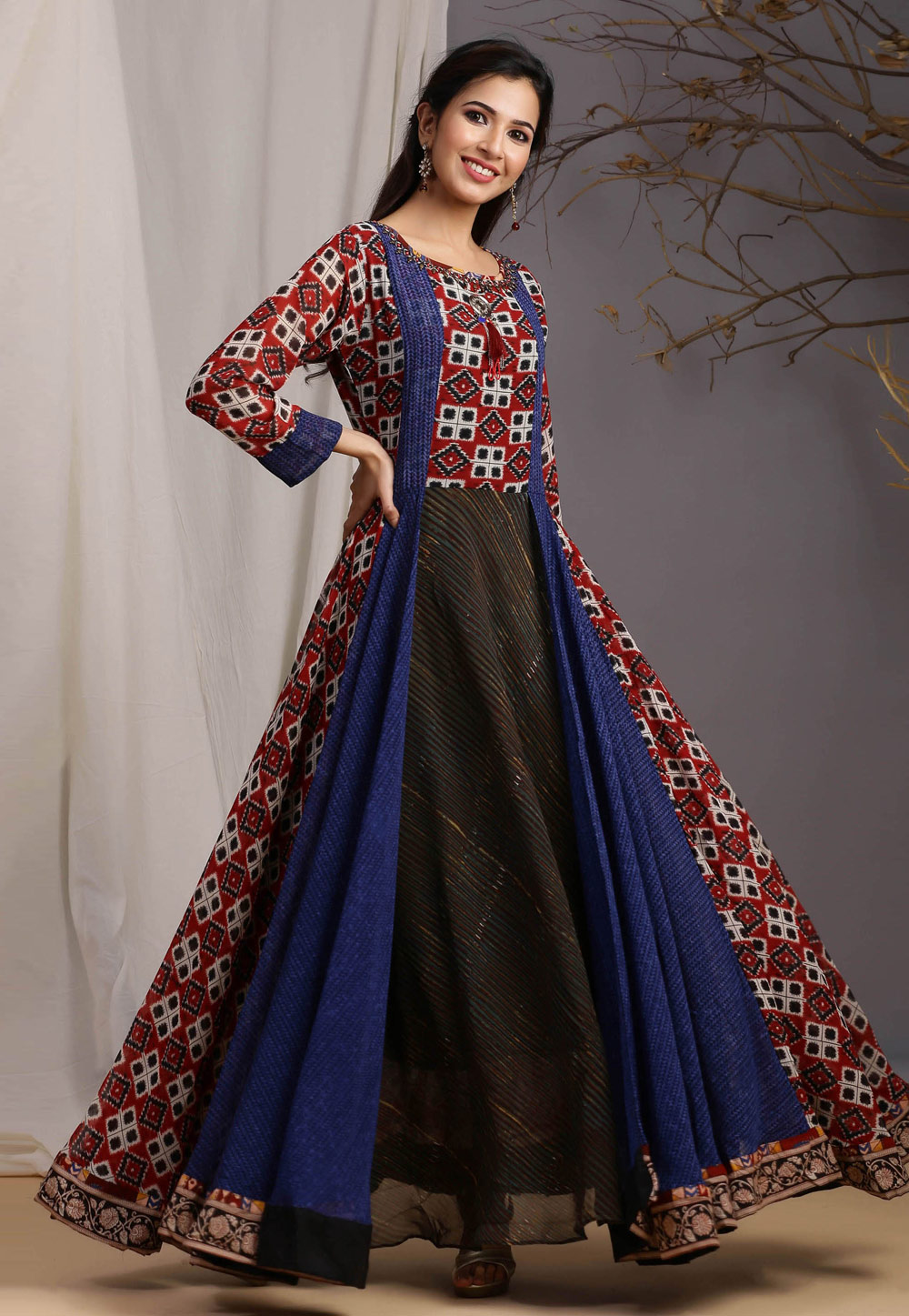 Red Georgette Cotton Readymade Gown 213001
