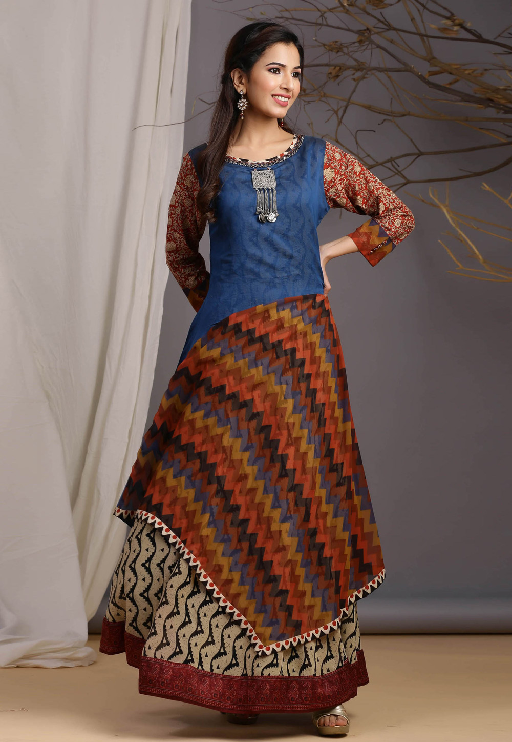 Blue Georgette Cotton Readymade Gown 213002