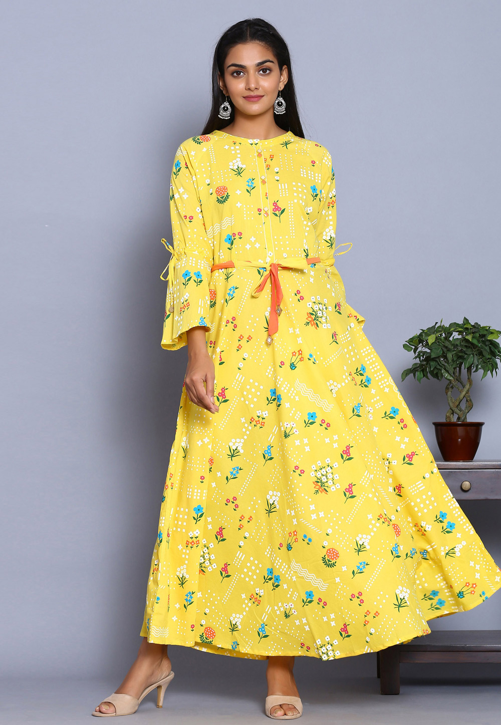 Yellow Cotton Readymade Gown 213003