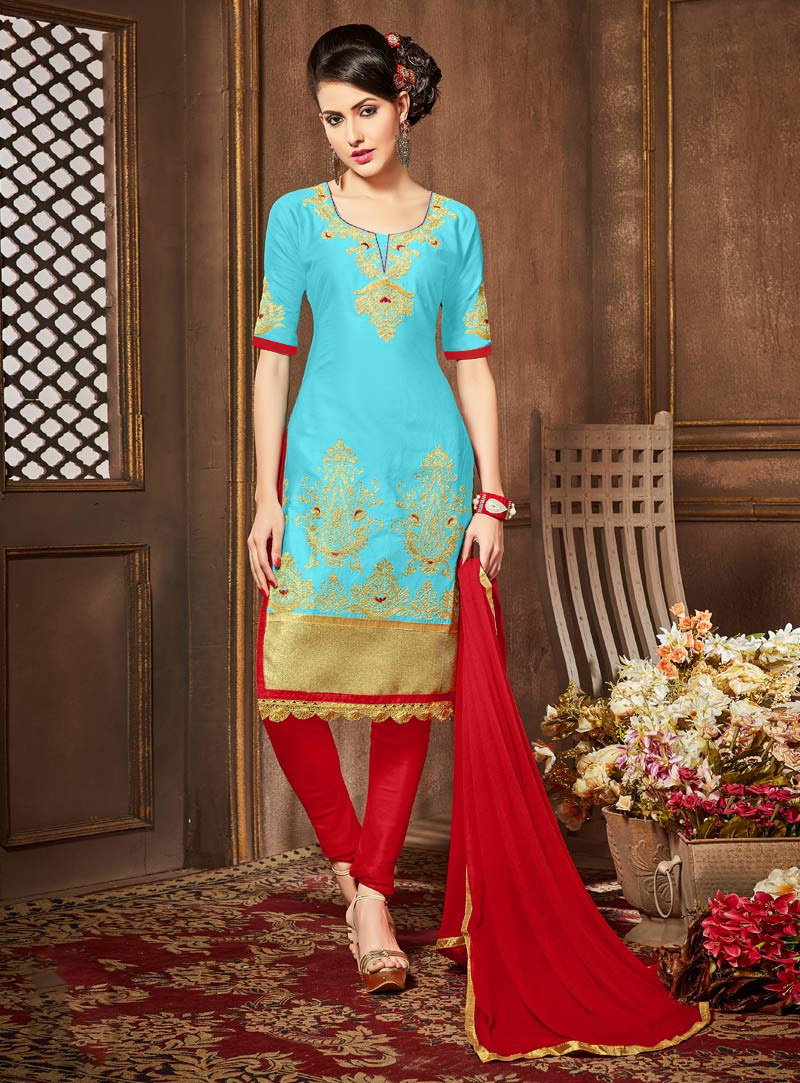 Sky Blue Cotton Churidar Salwar Suit 91547