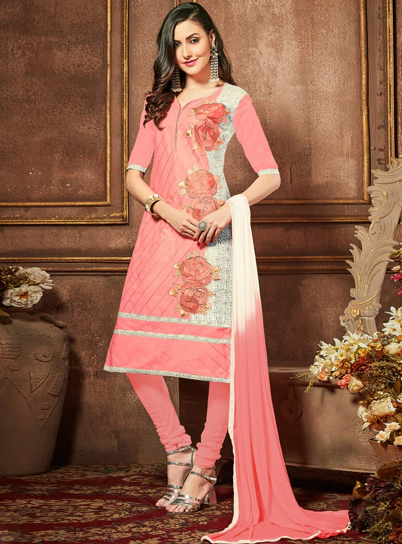 Pink Cotton Churidar Salwar Suit 91549