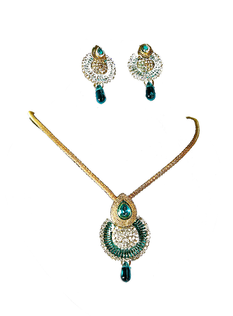 Teal Alloy Stone Necklace With Earrings 113524