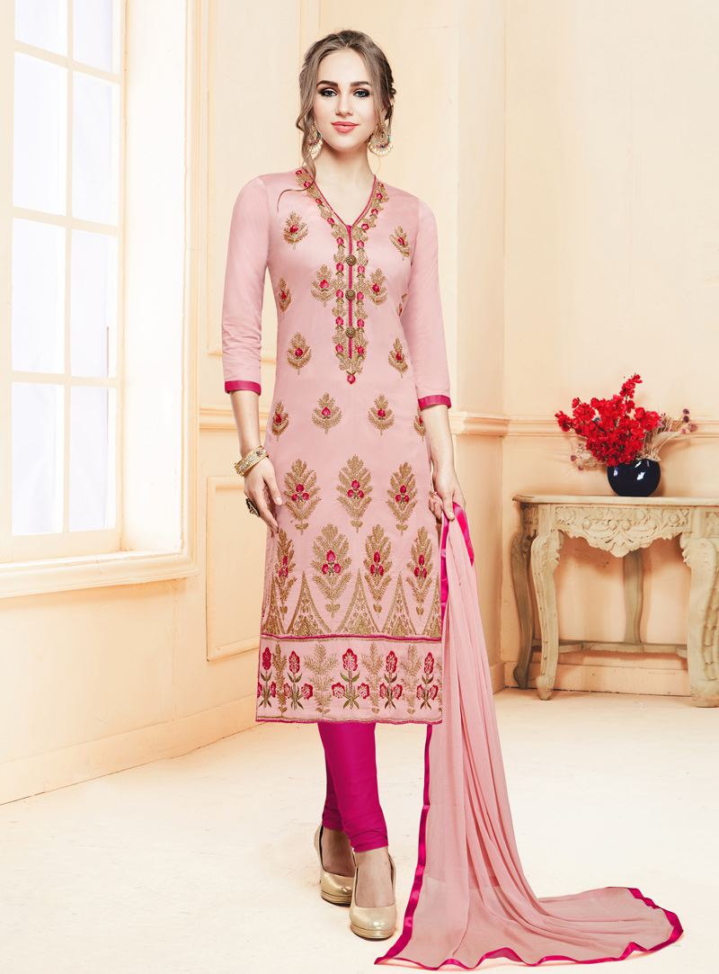 Light Pink Cotton Churidar Suit 142161