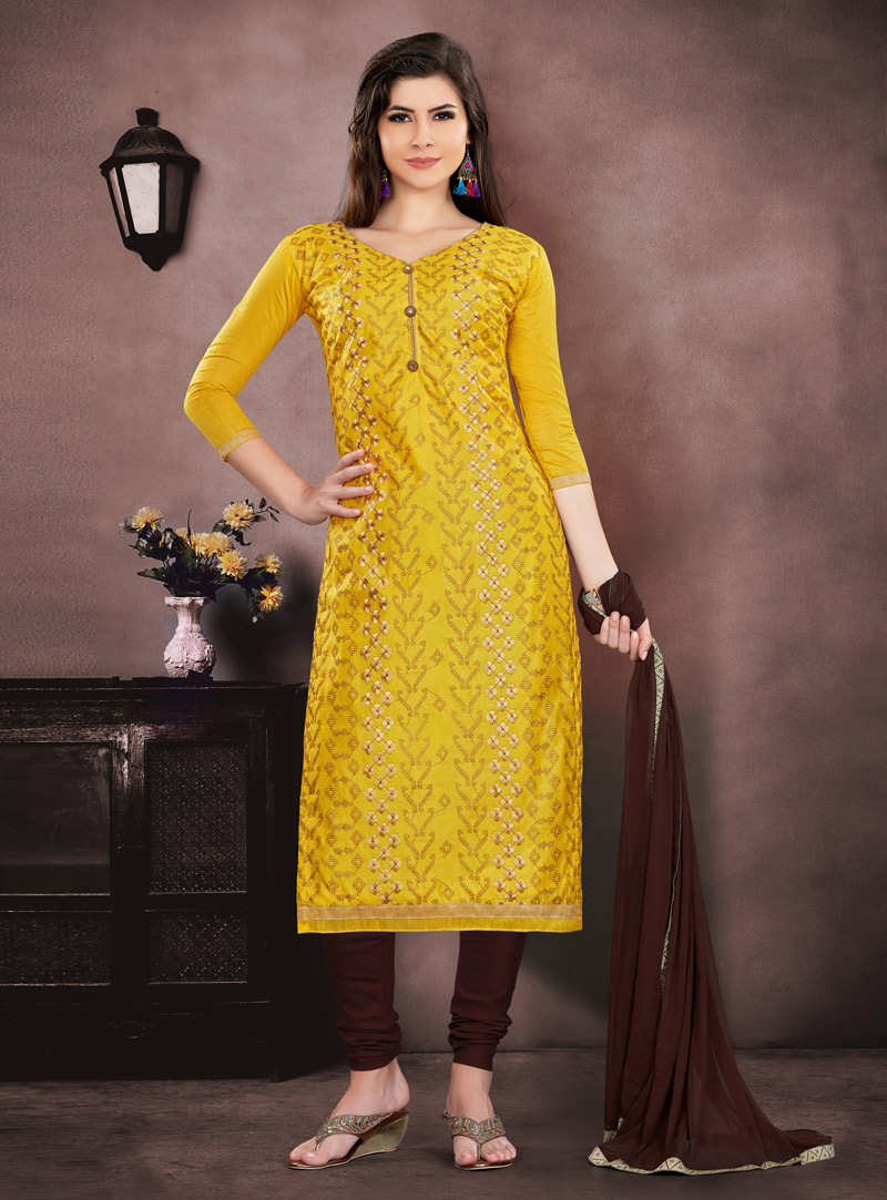 Yellow Chanderi Churidar Suit 143860