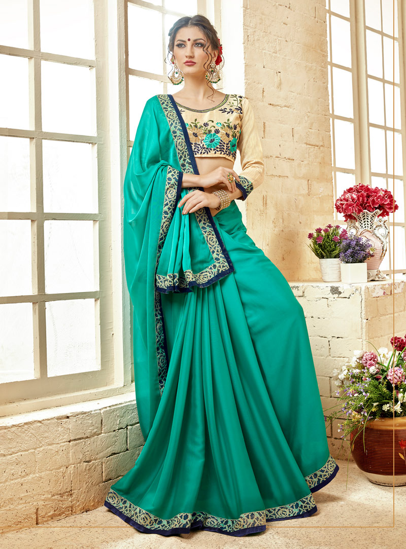 Turquoise Georgette Saree With Blouse 143747