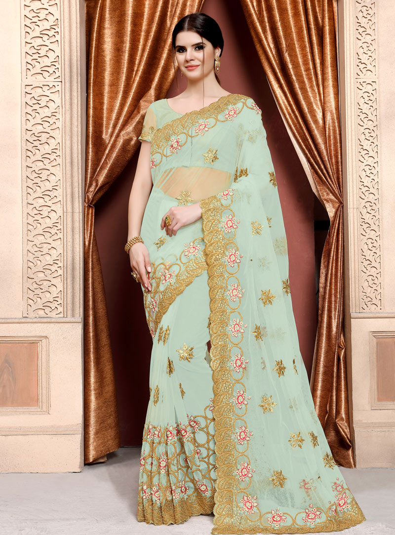 Sea Green Net Saree With Blouse 153114
