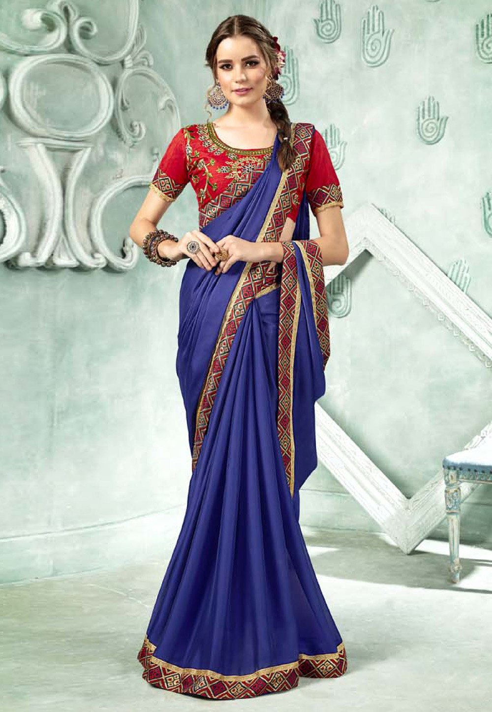 Royal Blue Georgette Saree With Blouse 154569