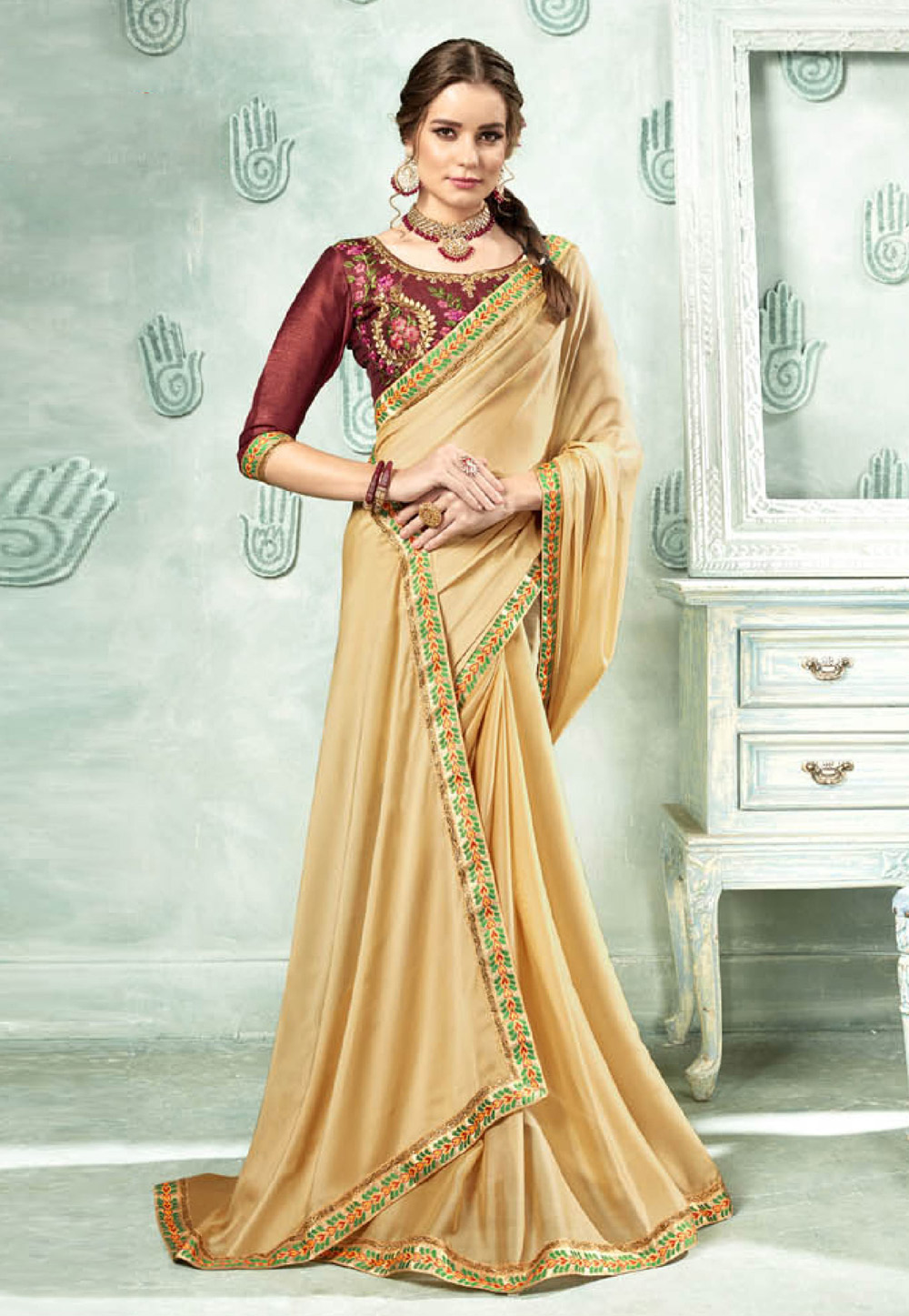 Beige Georgette Saree With Blouse 154571
