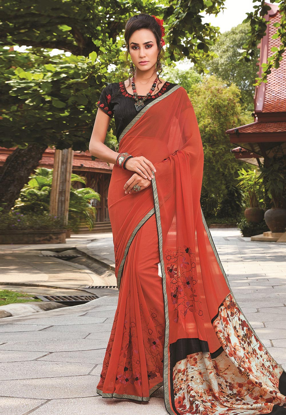 Red Georgette Festival Wear Saree 155767
