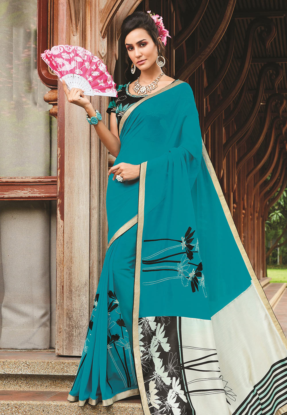 Turquoise Blue Georgette Printed Saree With Blouse 155770