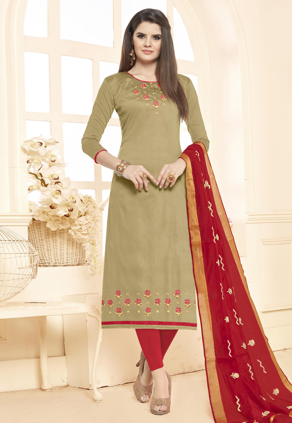 Olive Green Cotton Kameez With Pant 156000