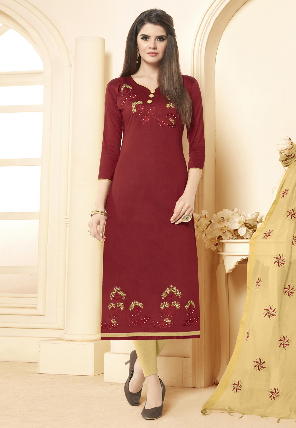 Maroon Cotton Kameez With Pant 156002