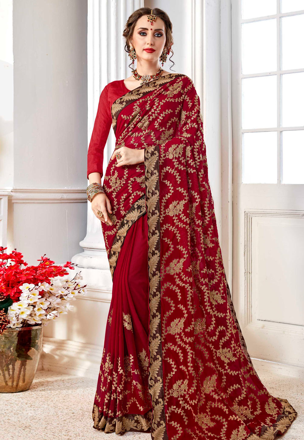 Maroon Georgette Saree With Blouse 156834