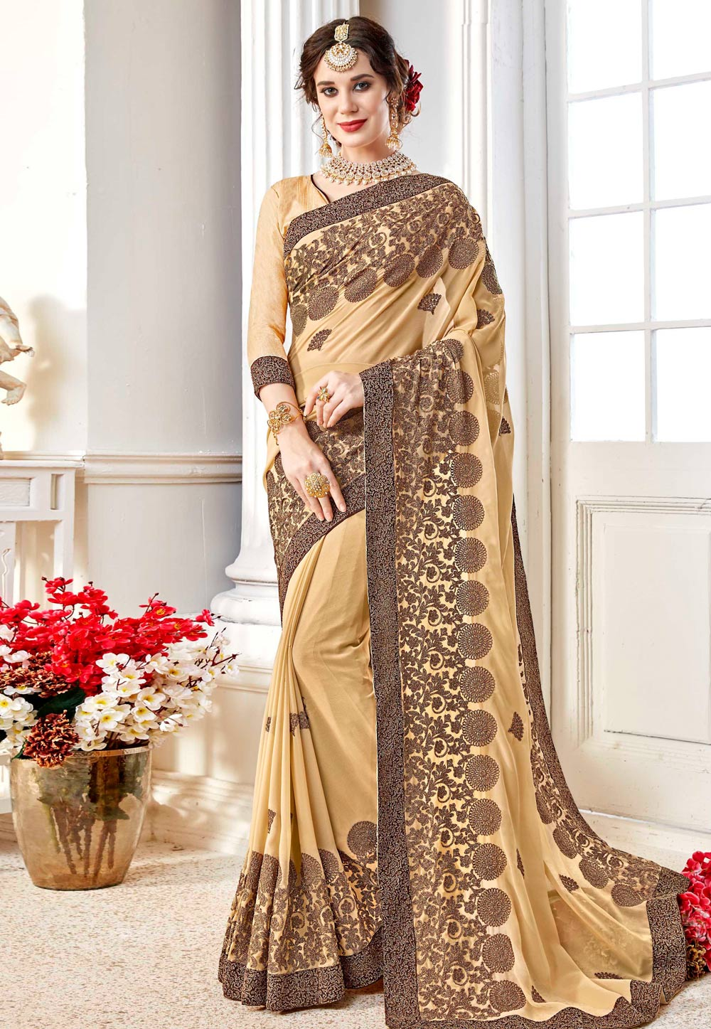Beige Georgette Saree With Blouse 156836