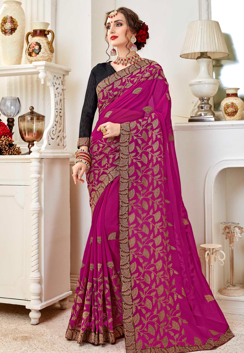 Magenta Georgette Saree With Blouse 156838