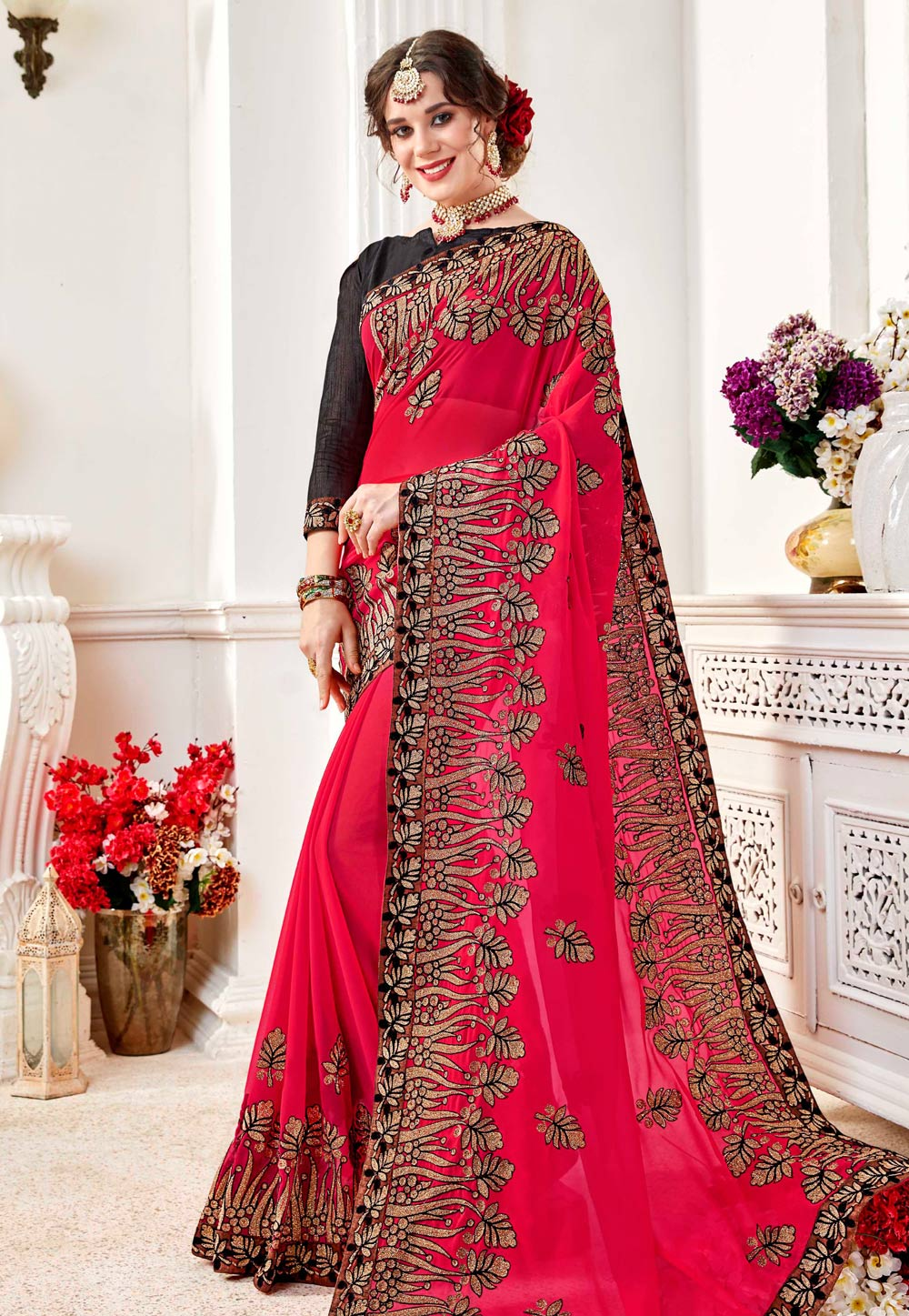 Magenta Georgette Saree With Blouse 156840