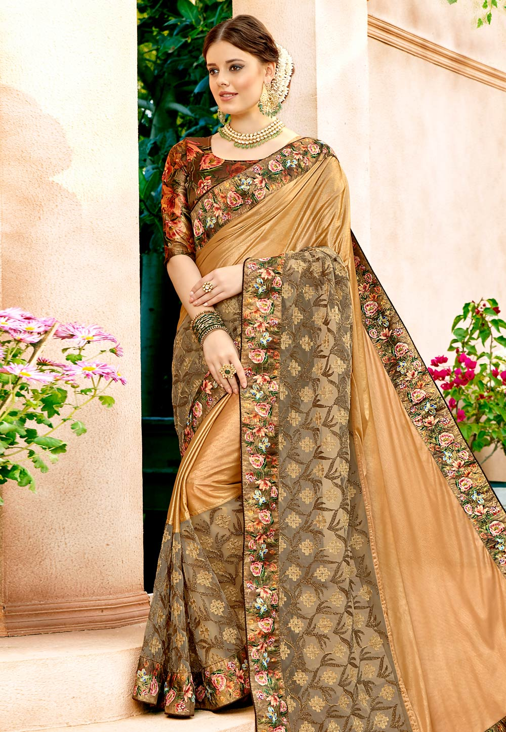 Beige Lycra Saree With Blouse 157364