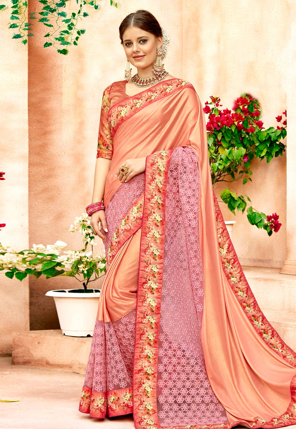 Peach Lycra Festival Wear Saree 157365