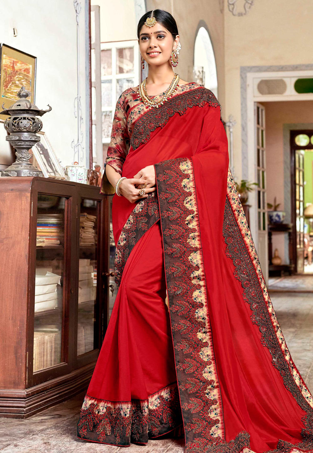 Red Silk Saree With Blouse 161629