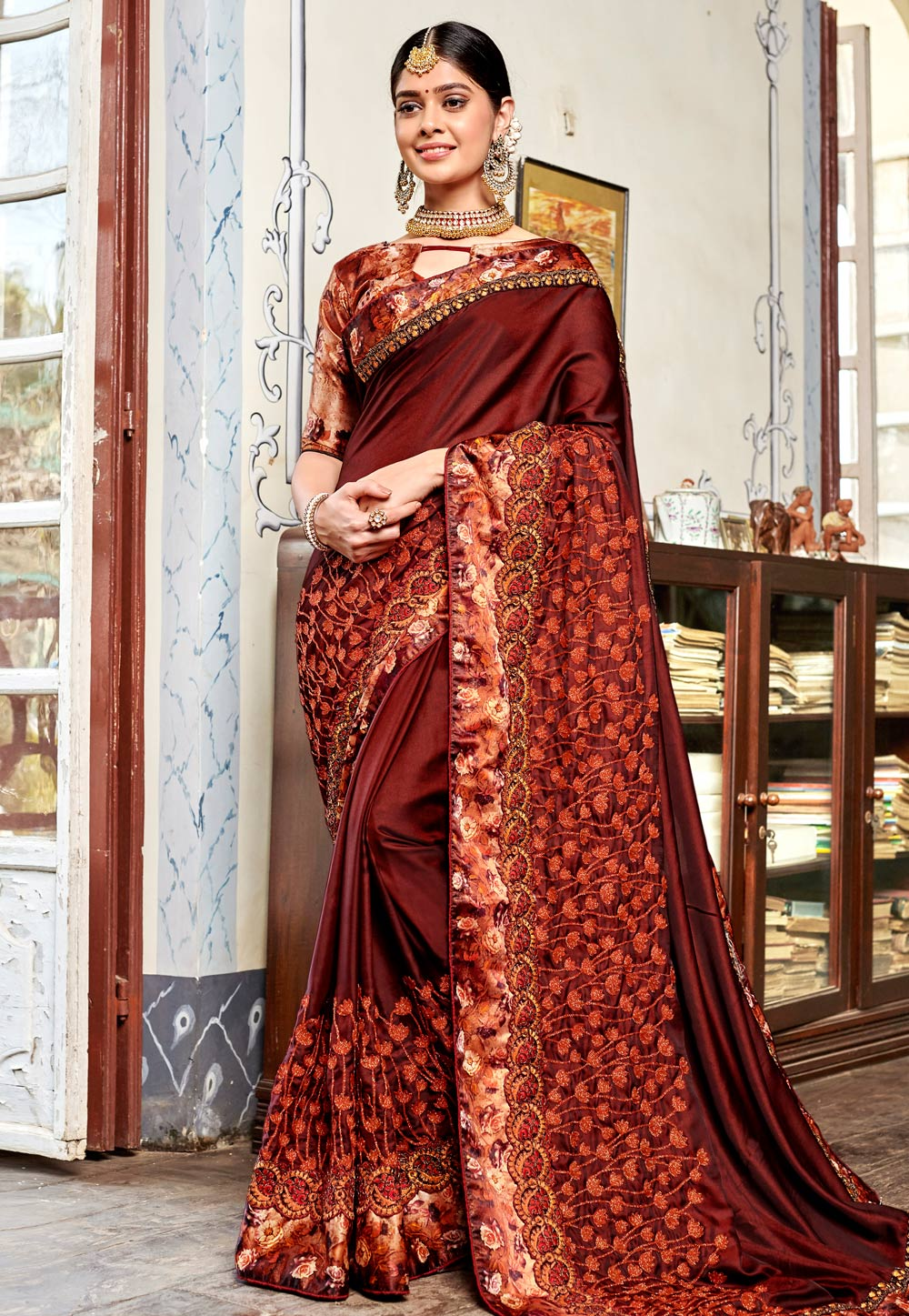 Wine Satin Festival Wear Saree 161630