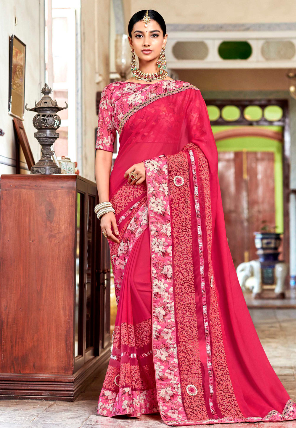Pink Georgette Saree With Blouse 161631