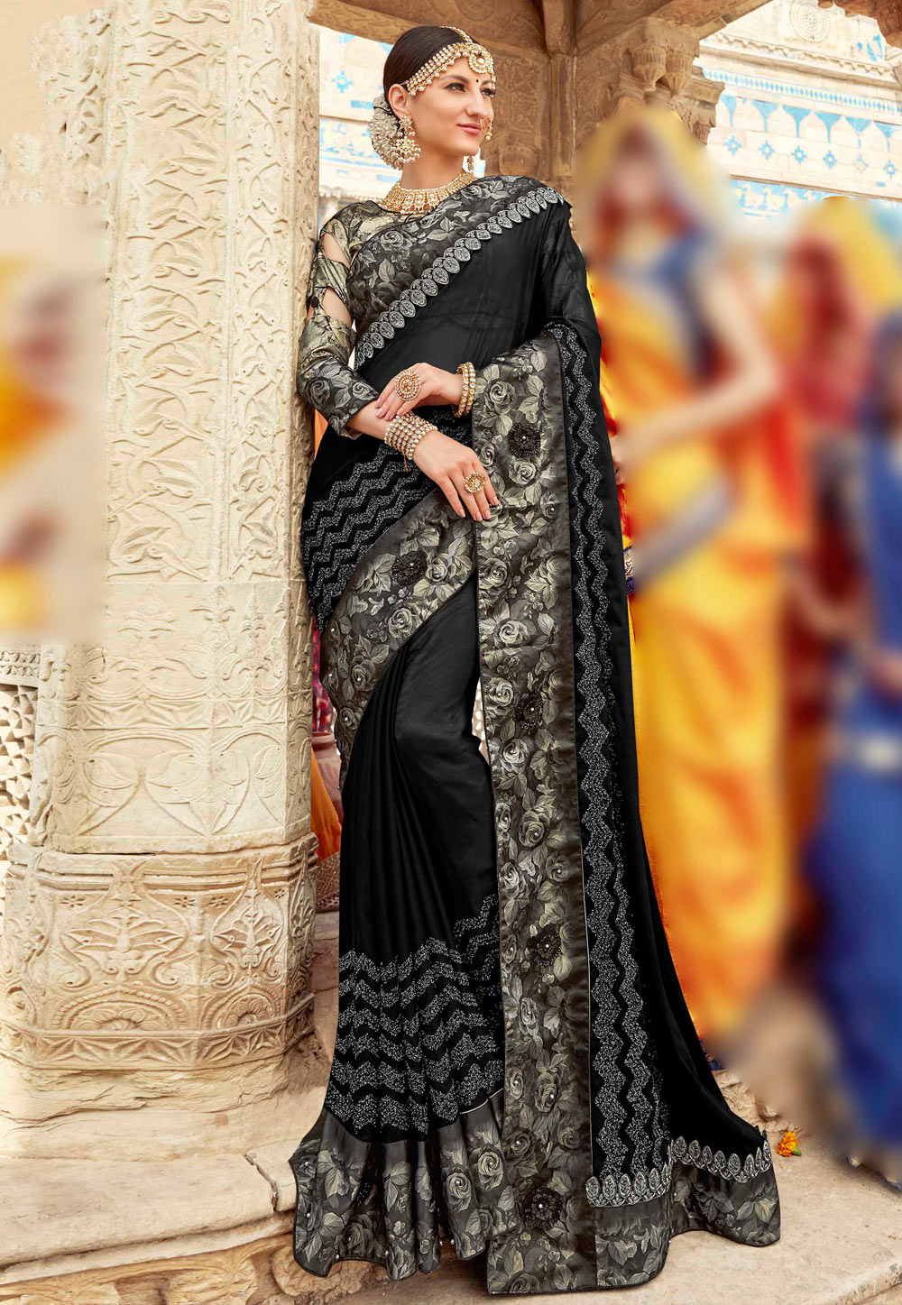 Black Georgette Saree With Blouse 161635