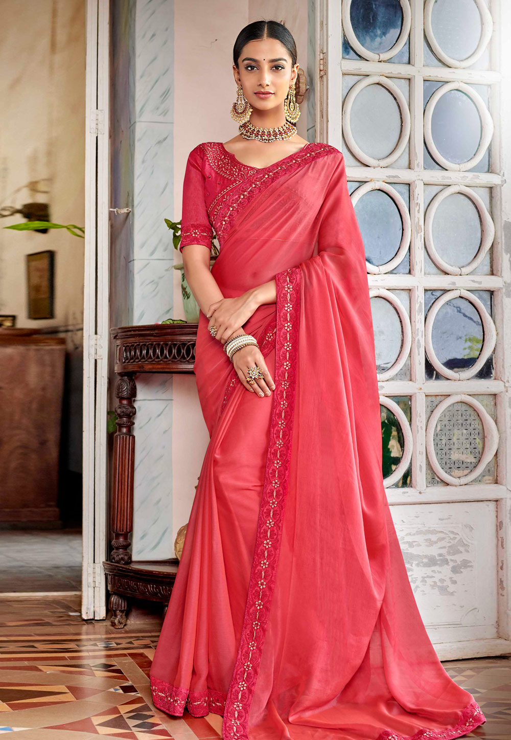 Pink Satin Festival Wear Saree 161942