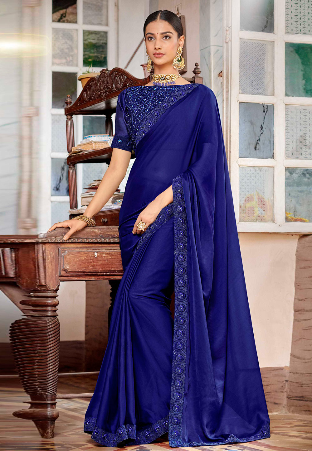 Blue Satin Saree With Blouse 161943