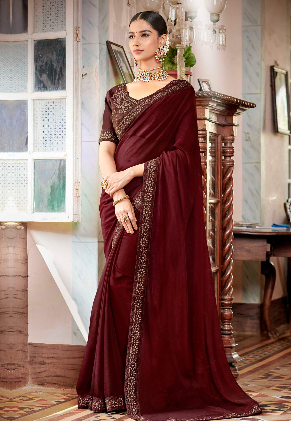 Wine Satin Festival Wear Saree 161944