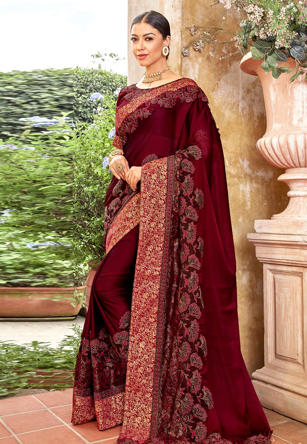 Maroon Georgette Festival Wear Saree 162112