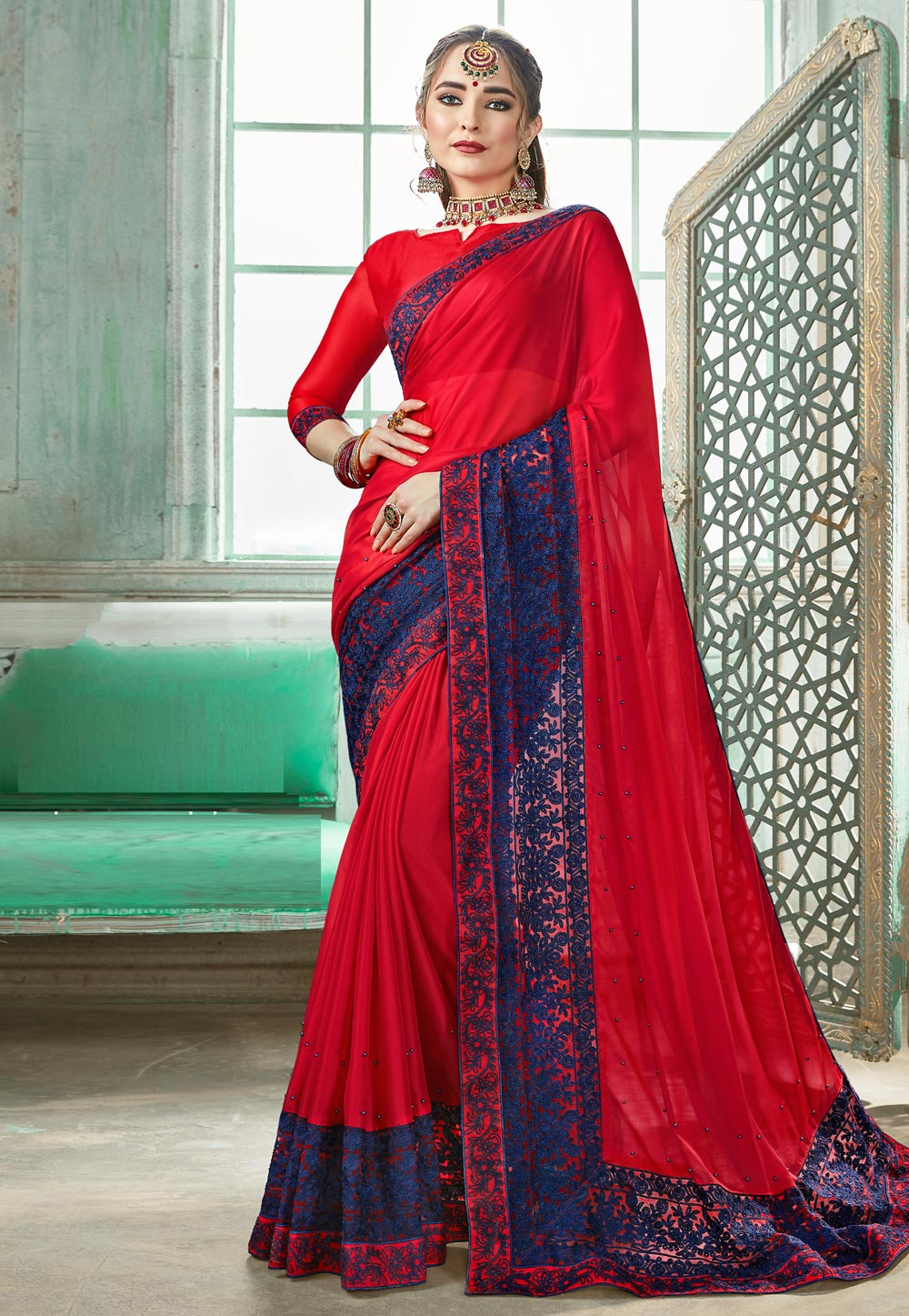 Red Silk Saree With Blouse 162325