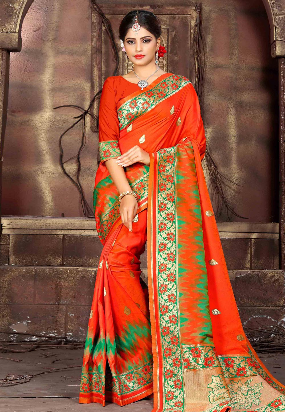 Orange Art Silk Festival Wear Saree 162830