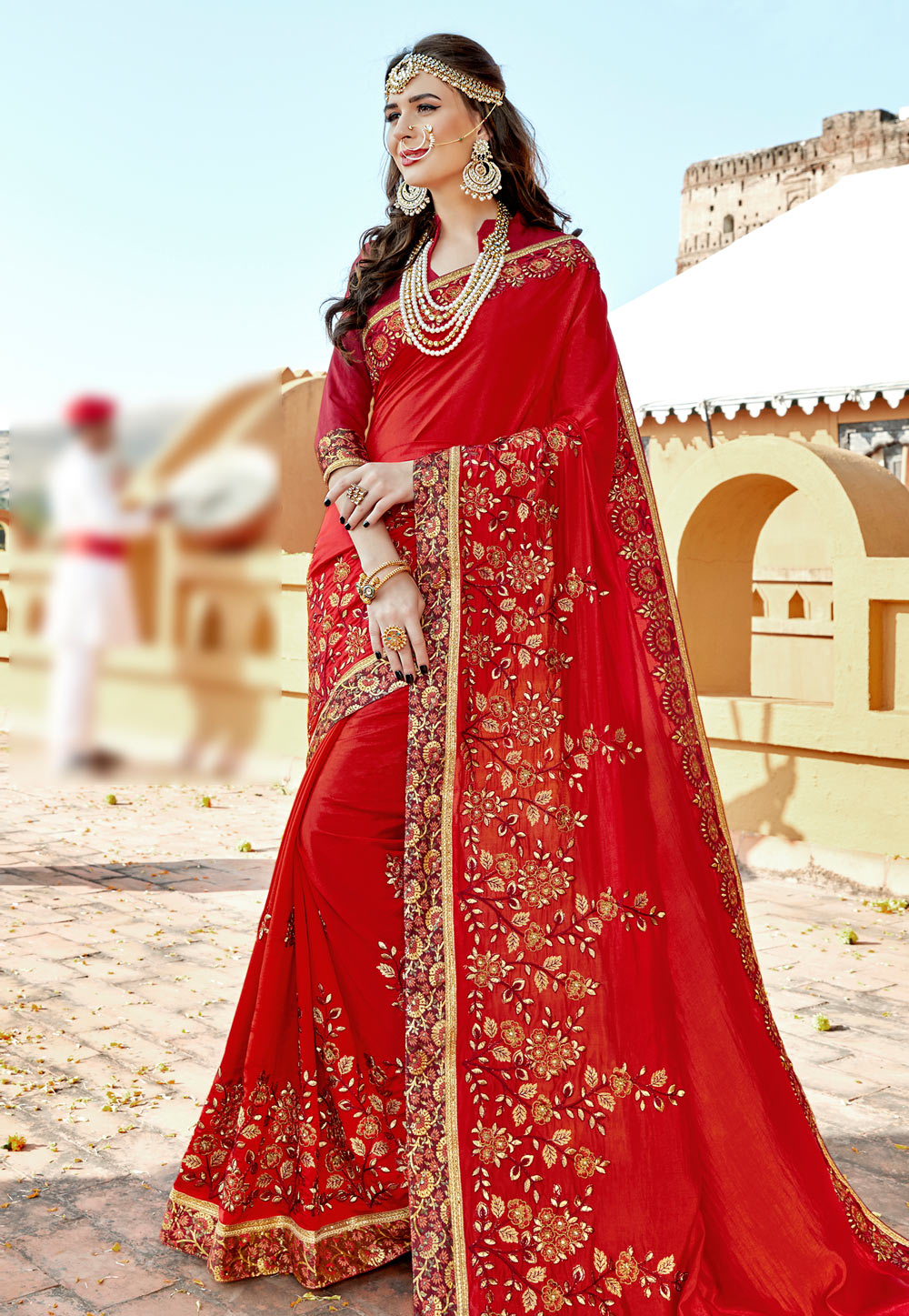 Red Silk Saree With Blouse 162997