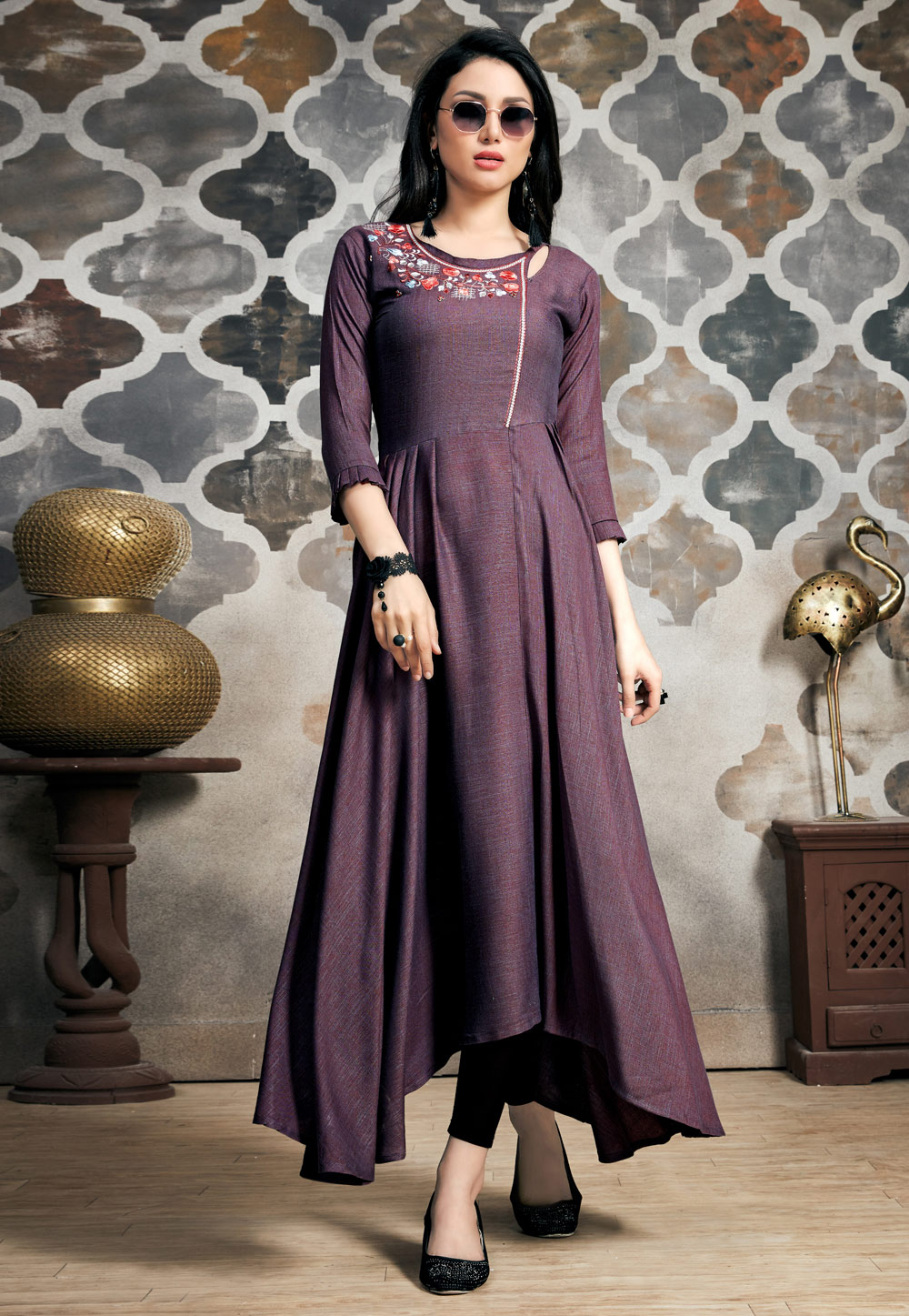Purple Readymade Gown 163431