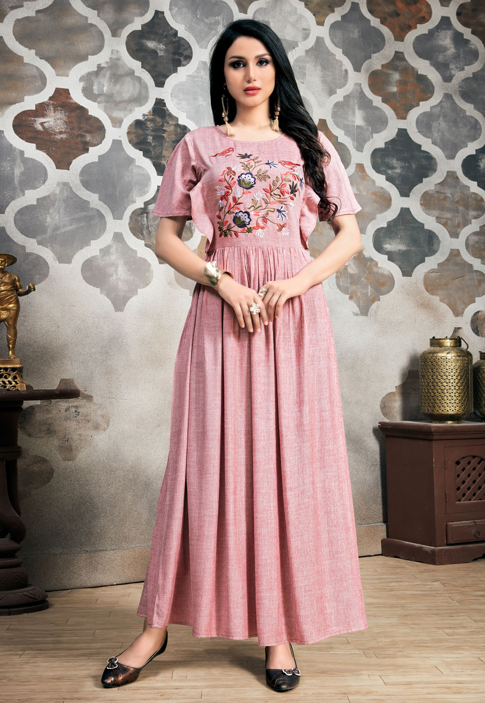 Light Pink Readymade Gown 163432