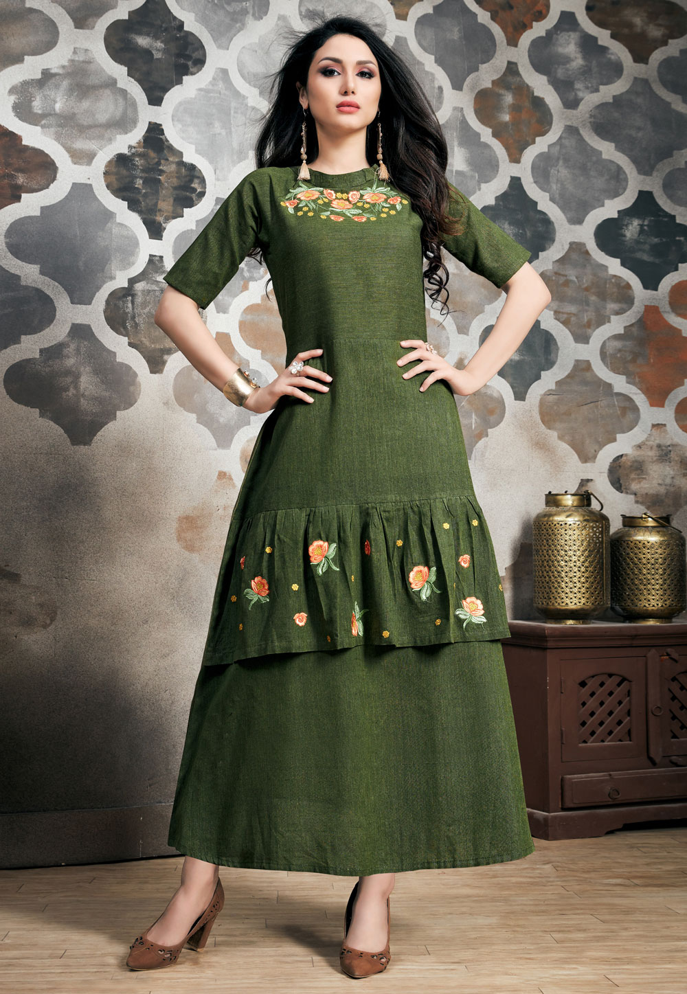 Green Readymade Layered Gown 163434