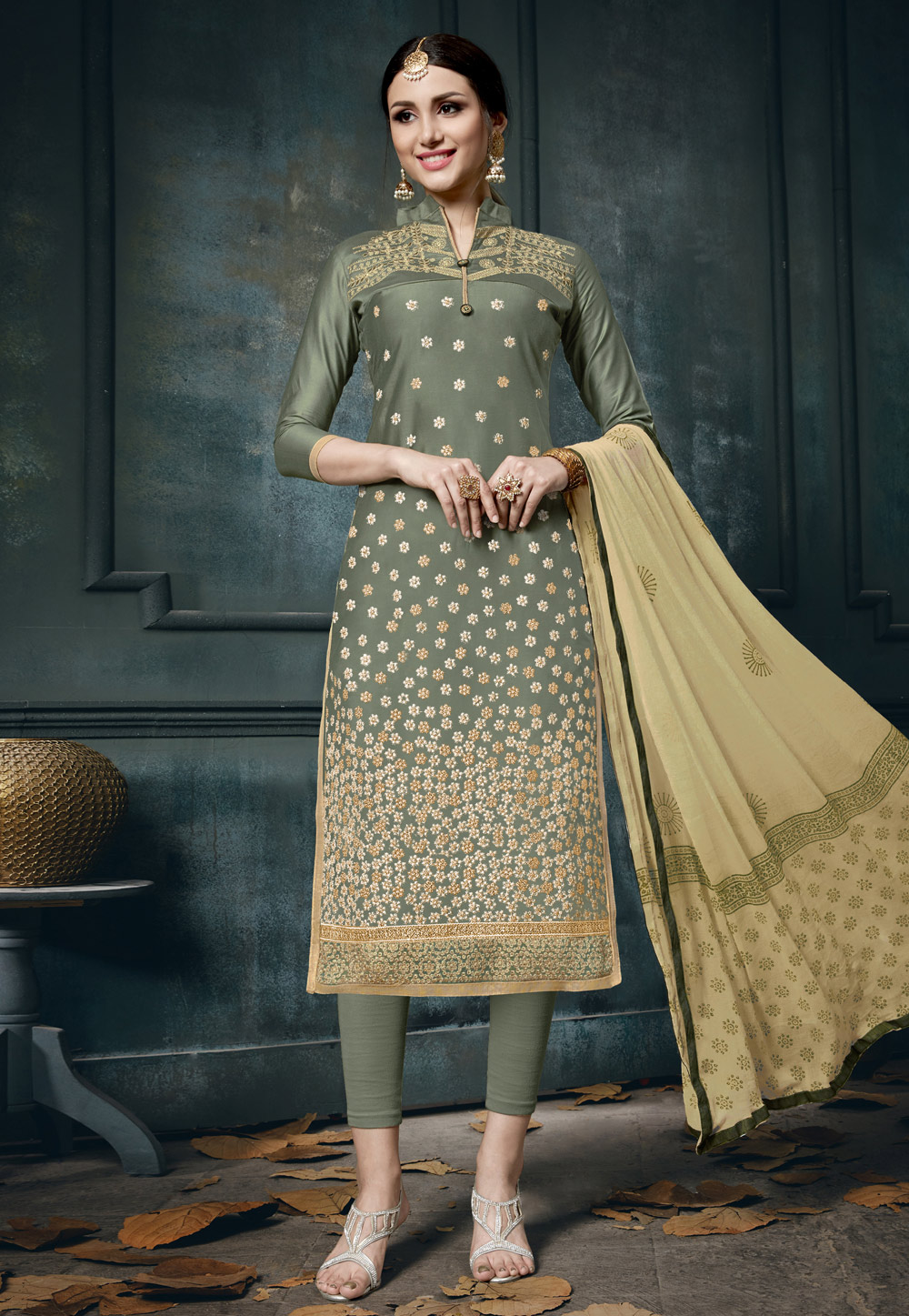 Olive Green Cotton Kameez With Pant 163503