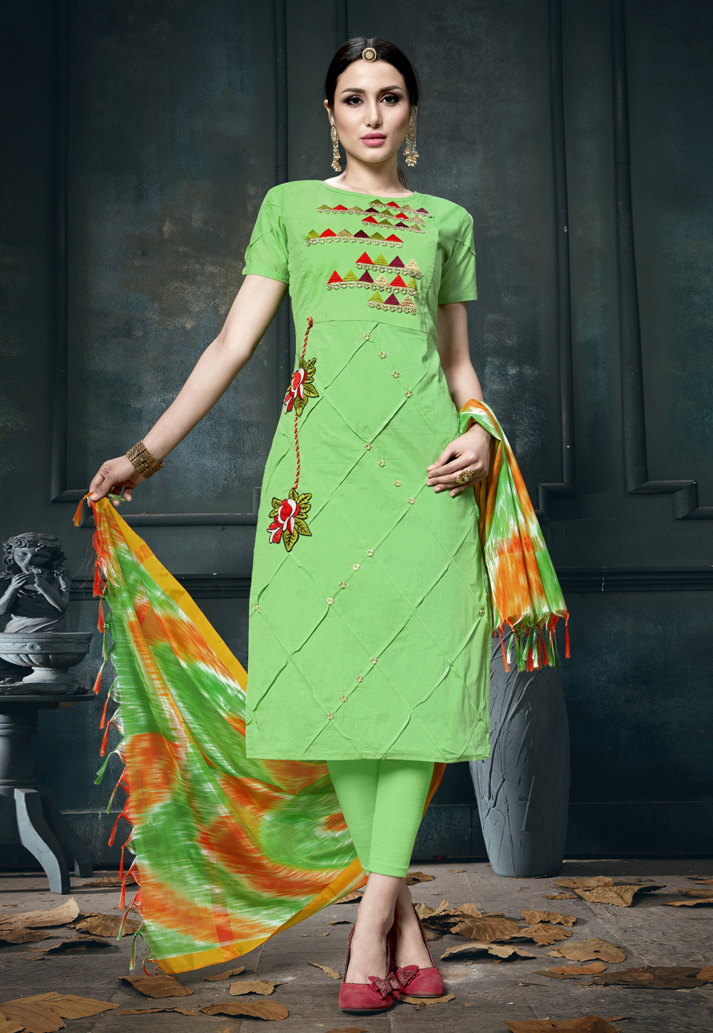 Green Cotton Pant Style Suit 163505