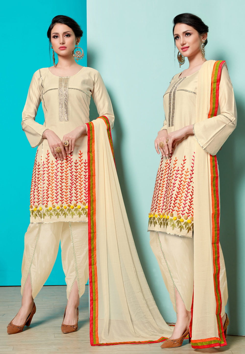 Beige Cotton Dhoti Salwar Suit 163453