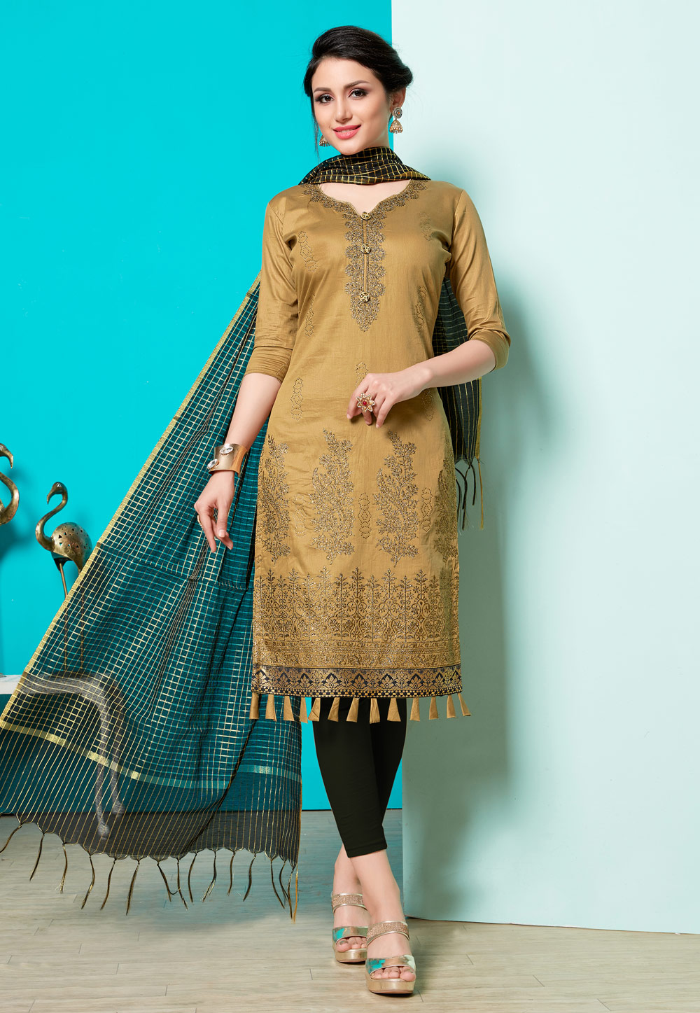 Golden Cotton Pant Style Suit 163456