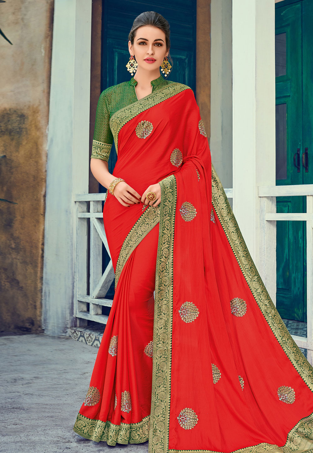 Red Art Silk Saree With Blouse 163490