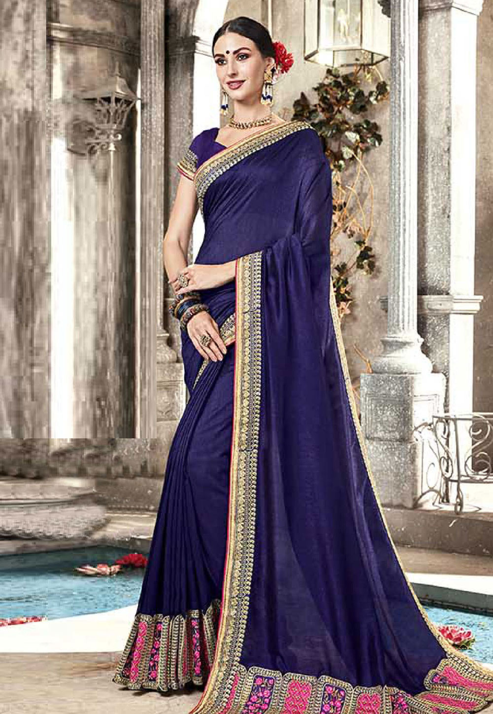 Blue Silk Festival Wear Saree 165452