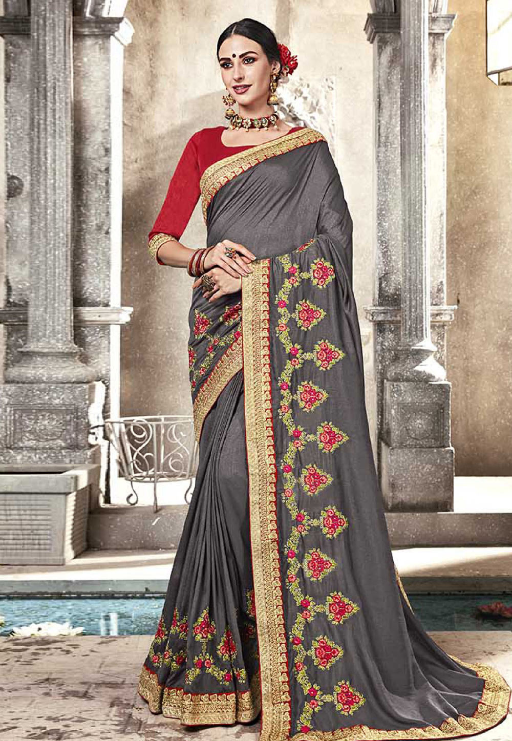 Grey Silk Party Wear Saree 165454