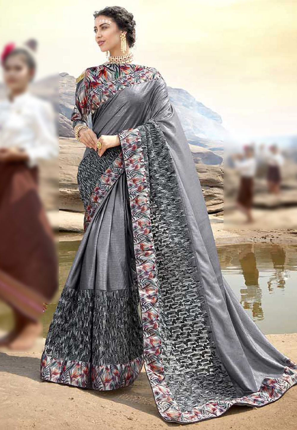 Grey Lycra Printed Saree With Blouse 165503