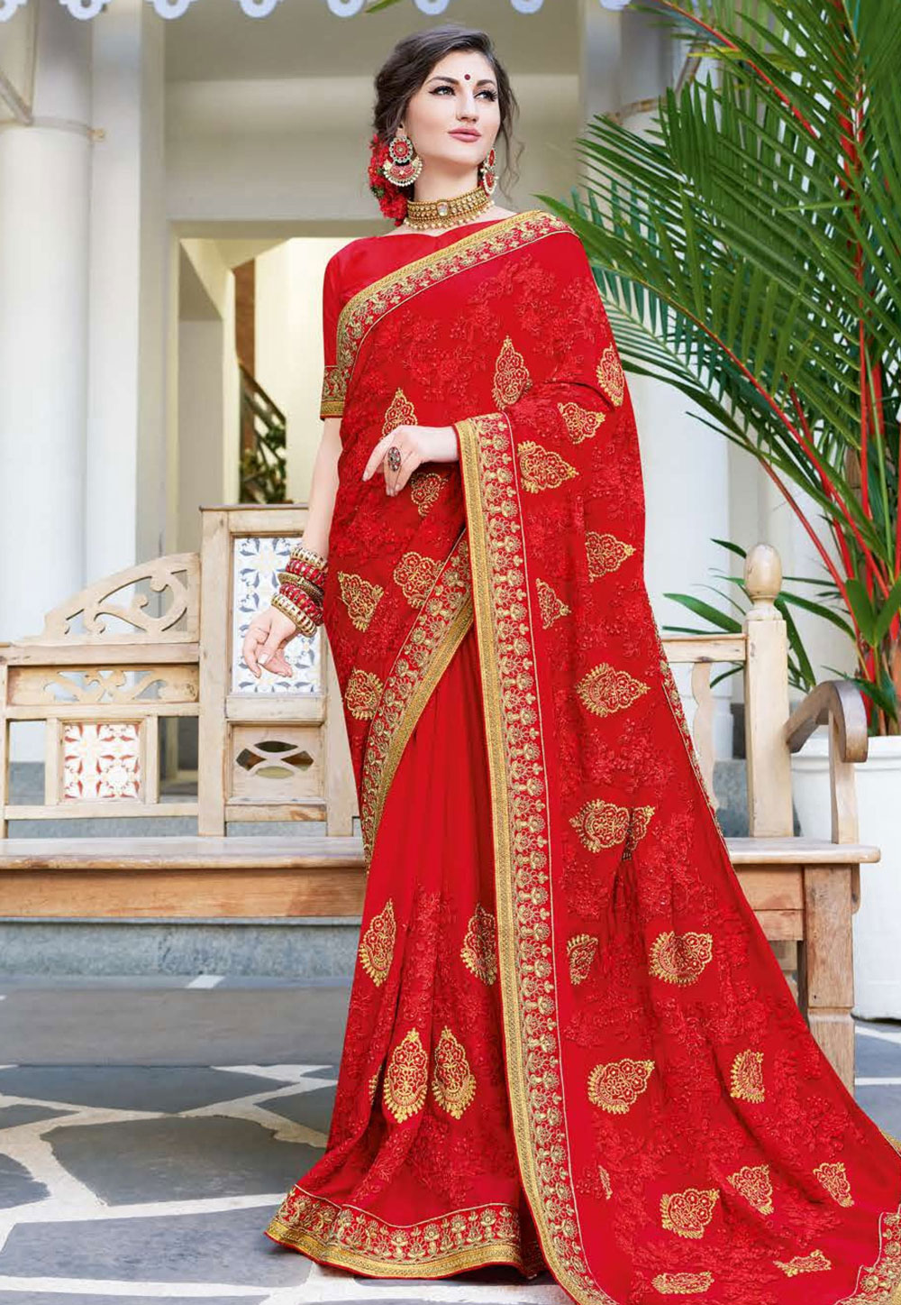 Red Georgette Embroidered Festival Wear Saree 165851