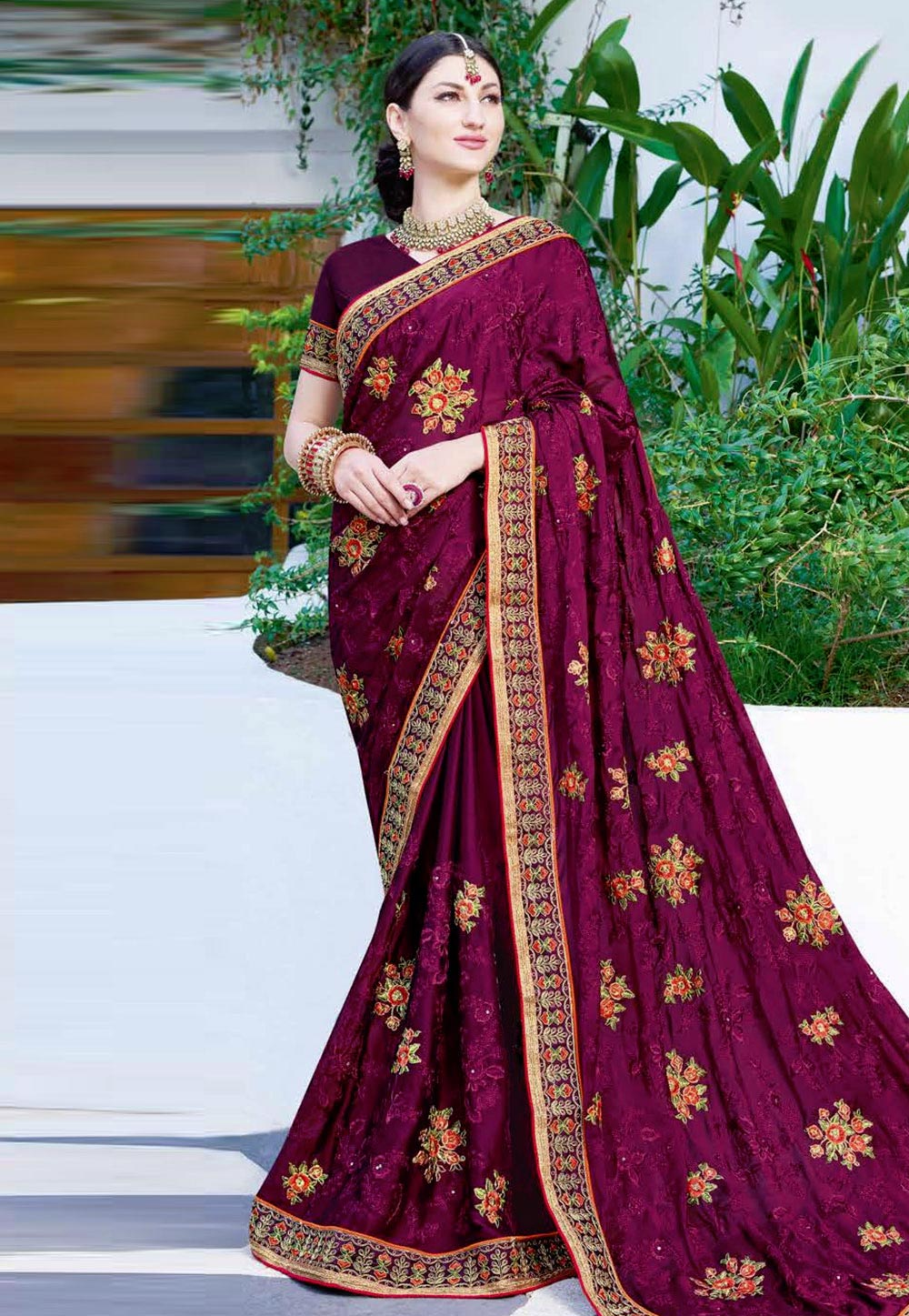Purple Georgette Saree With Blouse 165852