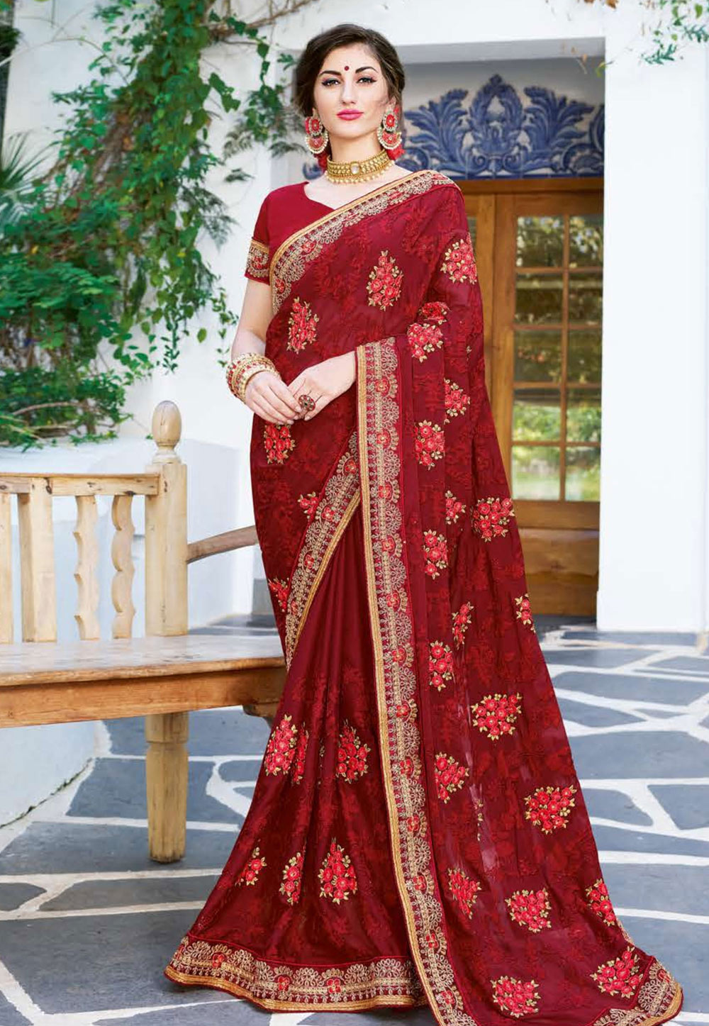 Maroon Georgette Embroidered Saree With Blouse 165854