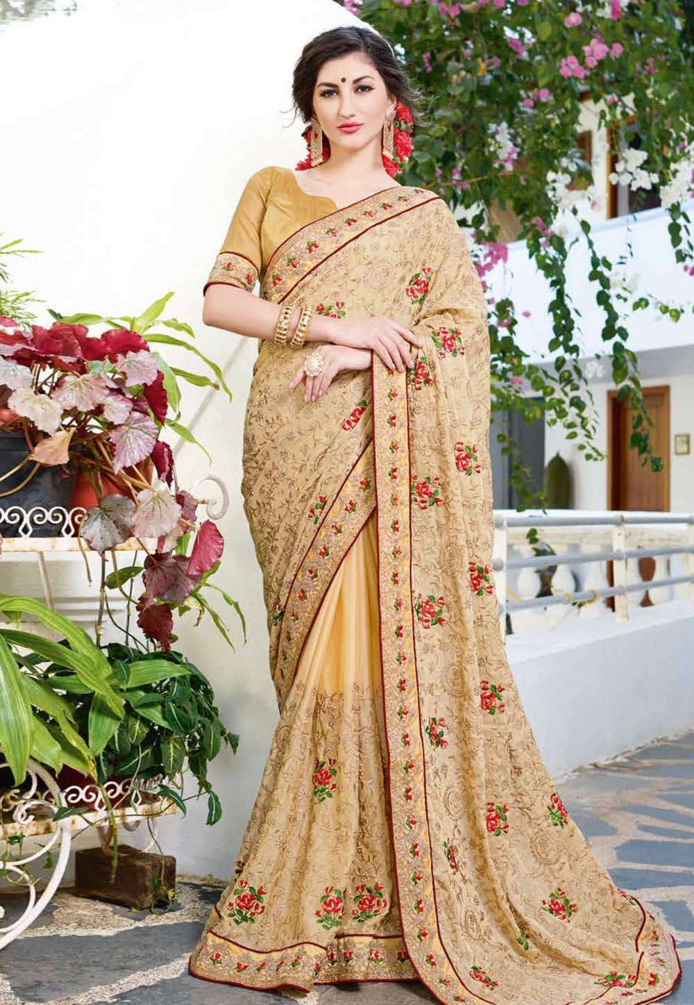 Beige Georgette Embroidered Saree With Blouse 165856