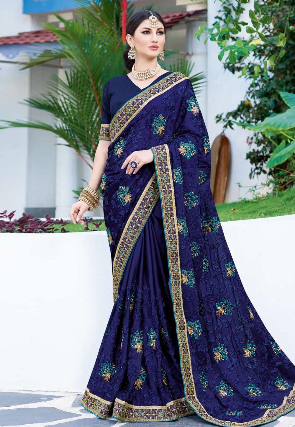 Blue Georgette Embroidered Festival Wear Saree 165857